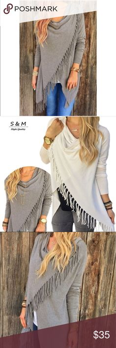 """Coming soon!! The Silverdust Tunic - Brand New Cowl Neck fringed polyester and cotton top. Comes in white and gray. Bust is 36"""" and length 31.5 inches long. Brand new. See other listing for white one! Tops Tunics"""