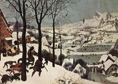 Pieter Bruegel the Elder, Hunters in the Snow (Winter), before 1565, oil on wood, A most beautiful painting.