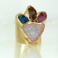 Druzy Statement Ring, Raw Gemstones Ring, Druzy & Rough Gemstones  Cocktail Ring, Wide Gold Band Ring, Spring Collection By Inbal Mishan.