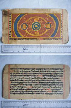 Original Antique Manuscript Old Jain Cosmology New Hand Painting Rare India #548