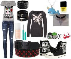 """emo/scene outfit of the day :D"" by xxrainbowgashesxx ❤ liked on Polyvore"