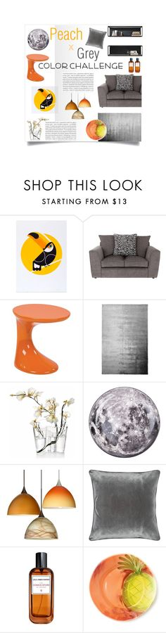 """Interior Inspiration: Peach & Grey"" by cstarzforhome ❤ liked on Polyvore featuring interior, interiors, interior design, home, home decor, interior decorating, Ave Six, Designers Guild, Oris and iittala"