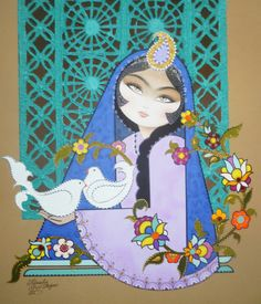 Acrylic Painting نقاشي سنتي ايراني كامليا شجاعي