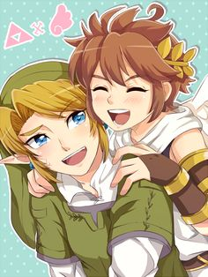 Link and Pit / Zelda x Kid Icarus fanart. Nice to see them getting along (considering they were beating each other up at first) ;)