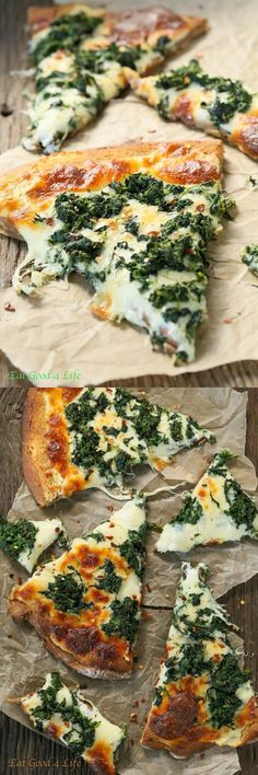 YUM!!!!!! Roasted Garlic + Spinach White Pizza