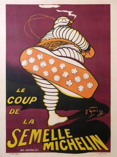le coup de la semelle michelin grand format couleur rouge : 1912 affiches anciennes de OGALOP Dit Marius Roussillon