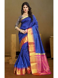 e947f61b8cd2b Fabulous Royal Blue Cotton Silk Saree Work -Zari Weaving Fabric -Cotton Silk  Paired with the matching blouse piece.