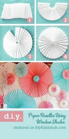 {DIY Paper Rosettes} Using Window Shades!  You can make them huge or small, and I would make a bunch of smaller ones for the gift bag toppers!