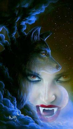 The Power Within Me. Fantasy Wolf, Fantasy Art Women, Dark Fantasy Art, Fantasy Artwork, Vampire Girls, Vampire Art, Vampiro Real, Wolves And Women, Wolf Artwork