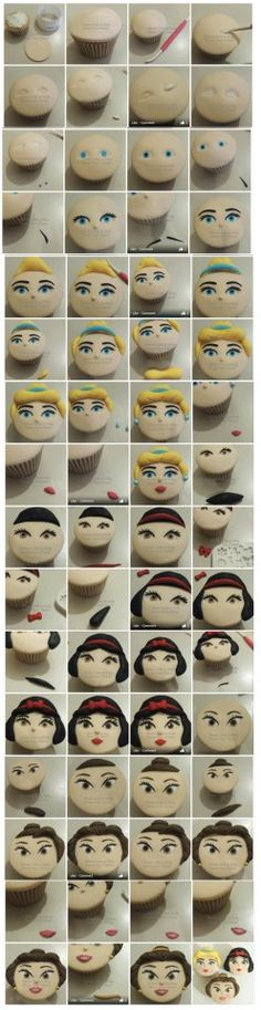step by step Disney princess cupcake face tutorial...