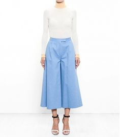 The Layering Tricks ALL Fashion Girls Know via @WhoWhatWear   Osman Denim Culottes ($993)