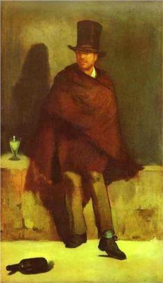 The absinthe drinker - Edouard Manet, 1858. Niet geaccepteerd voor de salon omdat het een onwaardig persoon is om te portretteren. Maar vooral omdat het Plat is geschilderd.