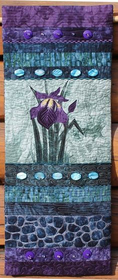 Iris quilted wall hanging, On The Trail Creations