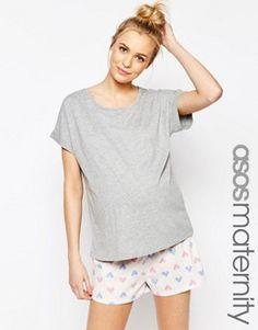 ASOS Maternity Heart Pajama Set With T-Shirt & Short