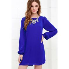 Status Update Royal Blue Shift Dress ($42) ❤ liked on Polyvore featuring dresses, blue, scoop neck long dress, woven dress, blue dress, blue shift dress and day to night dresses