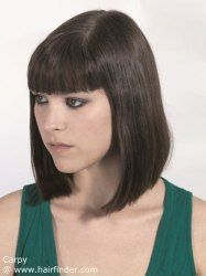 Pageboy haircut for straight hair that almost touches the shoulders ...