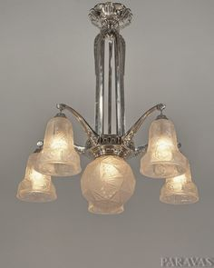 Verreries des Hanots  1930 six-light French art deco chandelier in nickel plated solid & Art Deco Chandeliers - Myer...Lights : More Pins Like This At ... azcodes.com