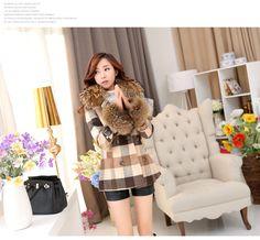 2015 thick woolen outerwear fur neck women's medium-long overcoat elegant slim