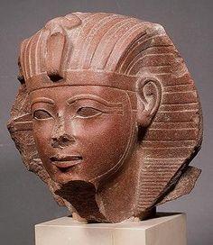 Head of sphinx of pharaoh Amenhotep II. 1439-1413 B.C., 18 dynasty. Red sandstone. Louvre.