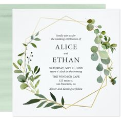 Wedding Themes Eucalyptus Geometric Wedding Invitation - Our elegant greenery wedding invitation features a geometric centerpiece with eucalyptus and foliage. Nice for spring and bohemian weddings. Photo Wedding Invitations, Wedding Stationery, Custom Invitations, Bohemian Wedding Invitations, Invitations Online, Party Invitations, Wedding Invitations Elegant Modern, Wedding Invitation Inspiration, Wedding Inspiration