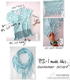 You do not need the old T-shirt DIY become a scarf