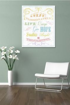 Dream  Distressed White Colorful Canvas Wall Art
