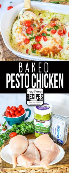 This is THE BEST Baked Pesto Chicken. It is creamy and delicious and SO EASY to make! This makes a perfect easy dinner idea for a busy night.