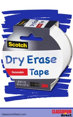 Scotch White Dry Erase Tape is ideal for creating, crafting, labeling, personalizing, decorating in the classroom.