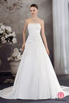 Only $245.9, Wedding Dresses Aline Strapless Handmade Flower Wedding Dress with Train #OPH1238 at #GemGrace. View more special Wedding Dresses,Simple Wedding Dresses now? GemGrace is a solution for those who want to buy delicate gowns with affordable prices. Free shipping, 2018 new arrivals, shop now to get $20 off!