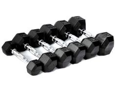 Nice CFF Rubber Hex Dumbbell Set, 5 - 25 lbs