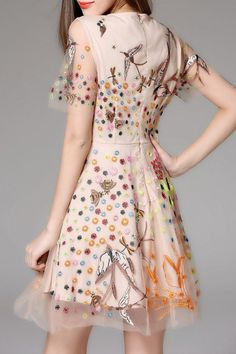 y apricot mini embroidered sheer flare dress here, find your mini dresses  at dezzal, huge selection and best quality.