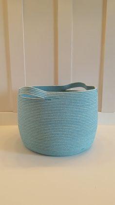 Extra Large Aqua Dyed Rope Basket by PrairieStMercantile on Etsy