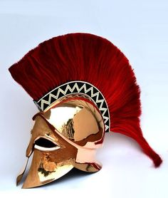 NauticalMart Knight Greek Wearable Corinthian Helmet Made of good quality steel Fully wearable and comfortably made Great for ( LARP) Live action role playing , Halloween, Fancy dress , Historical Reenacment. Ancient Greek Clothing, Greek Helmet, Corinthian Helmet, Greek Decor, Roman Armor, Helmet Armor, Ancient Greek Architecture, Gothic Architecture, Ancient Armor