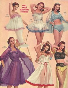 "1950s Lingerie ad, ""Spicy, Saucy, Sleepytime Stunners"""