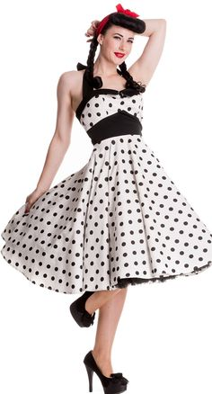 Adelaide 50's Dress in White//  black accessories