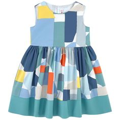 Crisp poplin Lined dress top Fine cotton lining Dress: Light   Hourglass cut Crew neck Sleeveless Pleats under the waistband Puff shape at the bottom Very flared bottom Snap buttons in the back Fancy bows Multicolored print - $ 169
