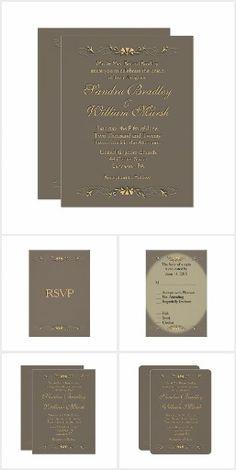 Sofisticata Brown Gold Wedding Invitation Suite 20% Off www.leatherwooddesign.com