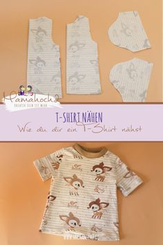 Sewing T-shirt - How to sew a T-shirt from an existing long sleeve cut - Nähen - Baby Board Knitted Doll Patterns, Knitted Dolls, Sewing Patterns, Sewing Hacks, Sewing Tutorials, Sewing Tips, Poncho Crochet, Baby Shirts, Sewing Projects For Beginners