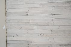 fawn over baby diy white washed pallet wall Pallet Wall Bedroom, Diy Pallet Wall, Pallet Walls, Diy Wall, Pallet Accent Wall, Wall Art, Pallet Ceiling, Pallet Painting, Whitewash Wood
