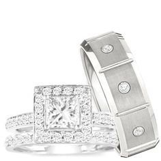 Wedding Ring set, His  Hers 3 Pieces 925 STERLING SILVER  STAINLESS STEEL Engagement Set, AVAILABLE SIZES men's... $69.99
