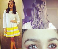 Two braids. This Alia Bhatt Hair Hack Is Perfect For Indian Weather Alia Bhatt Hairstyles, Chic Hairstyles, Braided Hairstyles Updo, Trending Hairstyles, Party Hairstyles, Braided Updo, Bollywood Hairstyles, Hairstyle Ideas, Two Braids