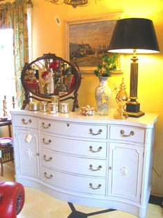 Vintage mahogany sideboard painted in a mix of Paris Grey and Pure White Chalk Paint® by Annie Sloan