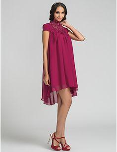 rochie de domnisoara de onoare sifon asimetric coloană teacă rochie gât ridicat (710815) – EUR € 69.99