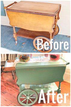 tea cart, vintage tea cart, painted tea cart, before and after, diy blog, the hollidays at home,