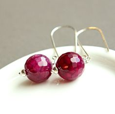 Gemstone  Earrings  Pink Agate  Jewelry by Hildes on Etsy
