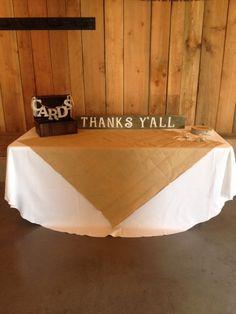 Card table at a western wedding