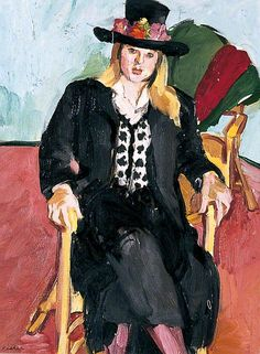 sandra fisher(1947–94), cosima in a black hat (spender's granddaughter), 1992. oil on canvas, 40 x 30 cm. pallant house gallery, uk http://www.bbc.co.uk/arts/yourpaintings/paintings/cosima-in-a-black-hat-70620