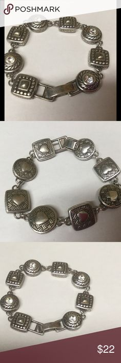 Brighton etched links bracelet in gold and silver Brighton circle and square etched link bracelet.  In good condition, some minor wear. Brighton Jewelry Bracelets