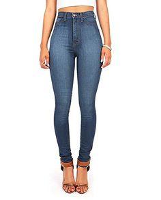 79e1ee08e155b Vibrant Women s Classic High Waist Denim Skinny Jeans at Amazon Women s  Jeans store