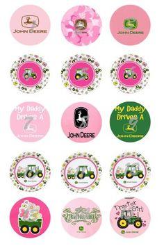 bottlecap images   Set of 15 Pink John Deere Bottle Cap Magnets